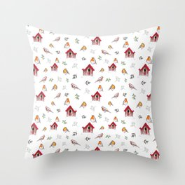 Winter Robins Throw Pillow
