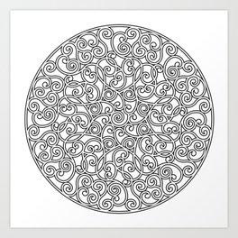 Mandala black 4 Art Print
