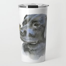 Black Lab with a Monarch Butterfly on His Nose Travel Mug