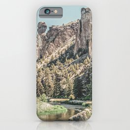 Vintage Smith Rock State Park // River and Rocks Scenic Hiking Landscape Photograph iPhone Case