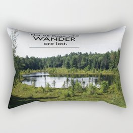 Not All Those Who Wander Are Lost Inspirational Quote Color Photo Rectangular Pillow
