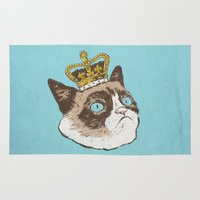 grumpy Area & Throw Rugs featuring Grumpy King by Chase Kunz