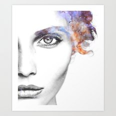Girl with stars in her hair Art Print