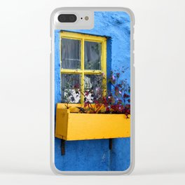 FLOWER - BOX - YELLOW - BLUE - WALL - PHOTOGRAPHY Clear iPhone Case
