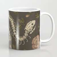 snake Mugs featuring Snake Skeleton by Jessica Roux