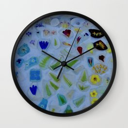 Flowers on Beach Glass 3 Wall Clock