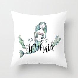 Art sleeping mermaid Throw Pillow
