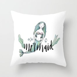 Art sleeping mermaid Throw Pillow