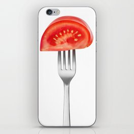 Tomato piece on a fork iPhone Skin