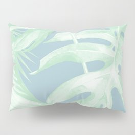 Tropical Leaves Luxe Pastel Sea Turquoise Blue Green Pillow Sham