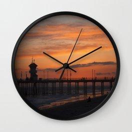Huntington Beach Sunset Wall Clock