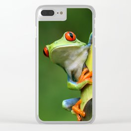 Curious Red-Eyed Tree Frog Clear iPhone Case