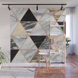 Marble Triangles 2 - Black and White Wall Mural