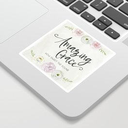 Amazing Grace Art Poster with Watercolor Florals Sticker