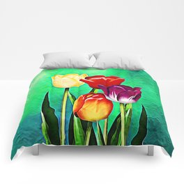 Happy Easter Greetings Tulips #society6 #flowers Comforters