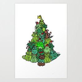 Merry Catmas! Art Print