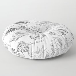 collection of sea shells, black contour on white background Floor Pillow