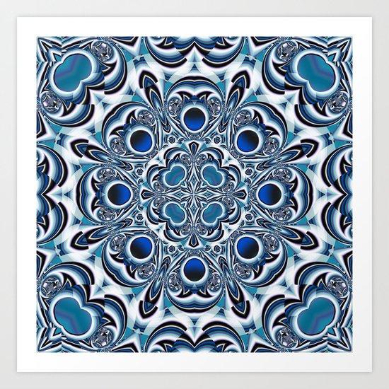 Snowflake fractal pattern Art Print
