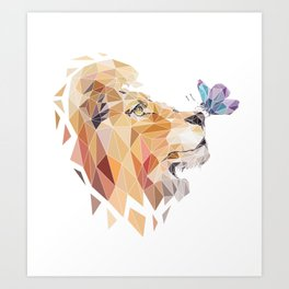 polygonal lion Art Print
