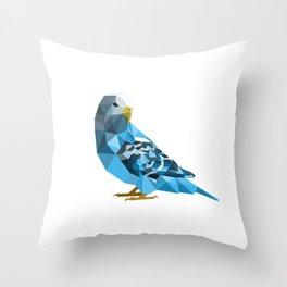 Geometric blue parakeet Throw Pillow
