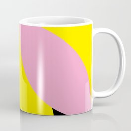 Four-Leaf-Clover in pink, hiding a Black Circle in a yellow background Coffee Mug