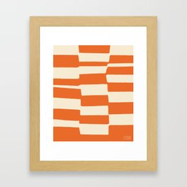 Benches (Orange) by Matthew Korbel-Bowers for Covell & Company Framed Art Print