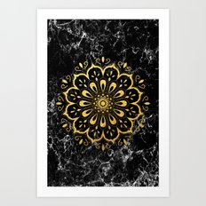 Gold mandala on black marble Art Print