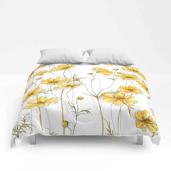 Yellow Cosmos Flowers Comforters