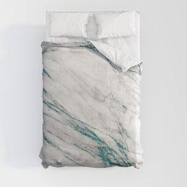 Gray Marble Aqua Teal Metallic Glitter Foil Style Comforters