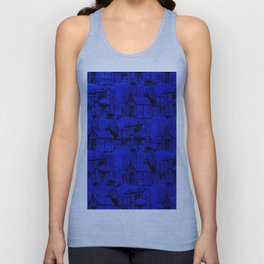 V25 Blue Architecture Design Traditional Moroccan Rug Background. Unisex Tank Top