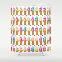 ice cream Shower Curtains featuring Ice Cream by Ornaart