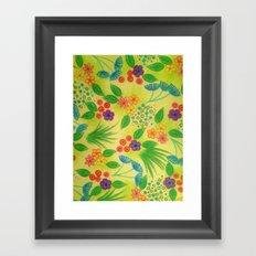 WILDFLOWER FANCY 3 - Cheerful Fresh Green Lovely Floral Garden Pattern Girly Feminine Trendy Flowers Framed Art Print