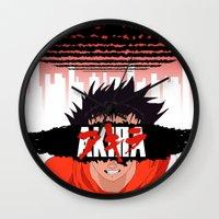 akira Wall Clocks featuring AKIRA - Tetsuo by Paul Scott (Dracula is Still a Threat)