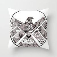 agents of shield Throw Pillows featuring SHIELD (no background) by Ruth Ms