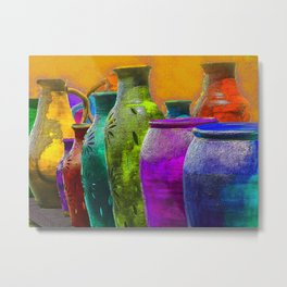 Multi-Colered Mexican Pottery in Mesilla, NM Metal Print