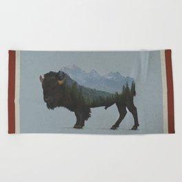 Wyoming Bison Flag Beach Towel