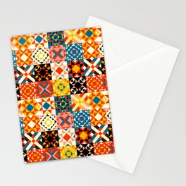 Maroccan tiles pattern with red an blue no2 Stationery Cards