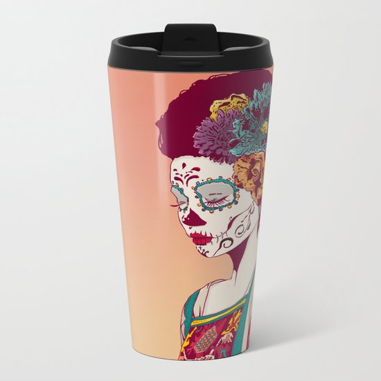 Mexican Skull Lady Metal Travel Mug