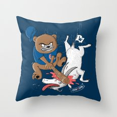 The Goat is Dead! (blue version) Throw Pillow