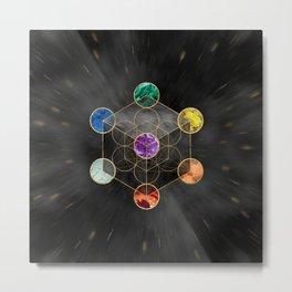 Metatron's Cube Chakras Sacred Geometry  Metal Print