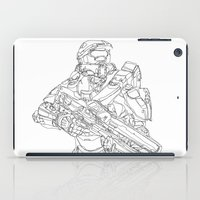 master chief iPad Cases featuring HALO Master Chief continuous line by Sam Hallows