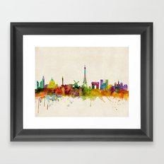 Paris Skyline Watercolor Framed Art Print