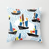 boats Throw Pillows featuring boats by frameless