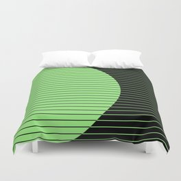 Opposites Attract (Abstract, green and black, geometric design) Duvet Cover