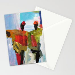 People Figure the World Abstract Art Contemporary Blue Red Green Black Sky Stationery Cards