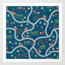 Fireman cute seamless kids pattern navy blue Art Print