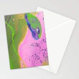 Fluid Art Acrylic Painting, Pour 30, Pink, Green & Purple White Blended Color Stationery Cards