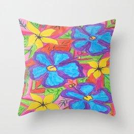 Tropical Rainbow Garden Throw Pillow