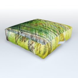 White Birch Forest at Sunset Landscape Painting Outdoor Floor Cushion
