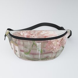 Shabby Chic Pink Hydrangeas Books Mirror Wall Print and Home Decor Fanny Pack